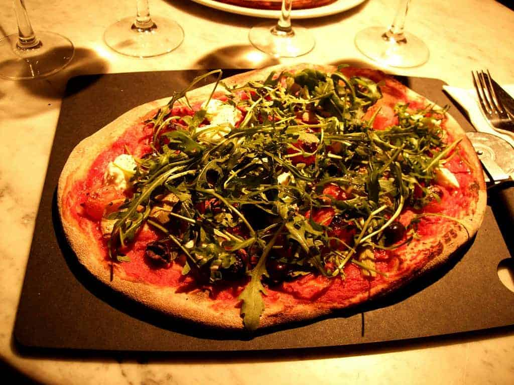 pizza with herbs from pizza express