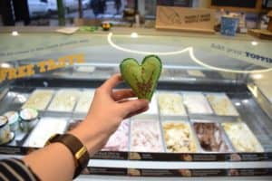 green heart in front of ice cream